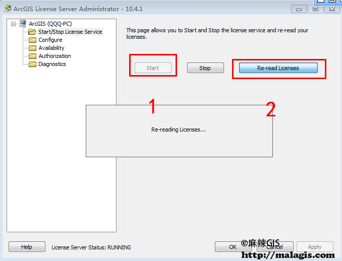 ArcGIS License Manager重新读取许可