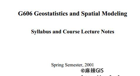 《Geostatistics and Spatial Modeling》(PDF版本)