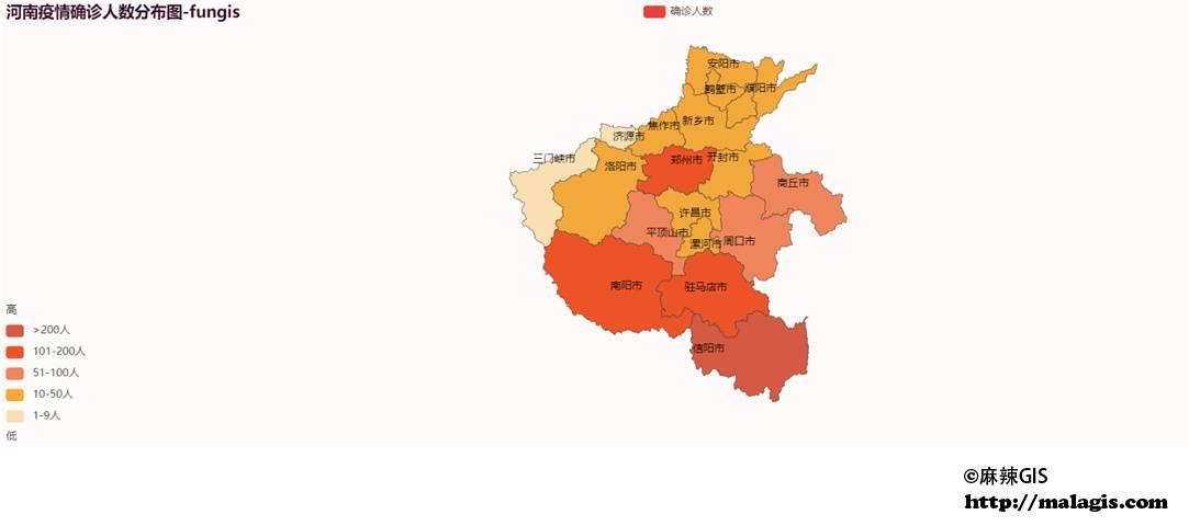 基于丁香园数据的河南疫情确诊人数分布图