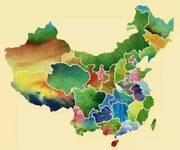 中国各省的唯美水墨画地图